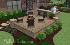 Contrasting Paver Patio Design with Grill Station-Bar 3 Patio Layout, Wall Seating, Backyard Patio Designs, Backyard Landscaping, Landscaping Ideas, Land Scape, Outdoor Gardens, Outdoor Decor, Outdoor Living