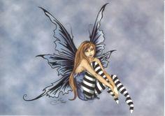 Amy+Brown+Fairy+Art | Amy Brown's Imagine Sitting Fairy Art Postcard 2001 NEW