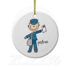 Postal Worker Stick Figure Christmas Ornament
