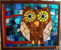 Brown Owl Stained Glass Mosaic Window by FolkloreLLC, via Flickr