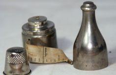 ANTIQUE c1900~~ETUI;THIMBLE,HOLDER,NEEDLE case;CHAMPAGNE bottleTAPE MEASURE