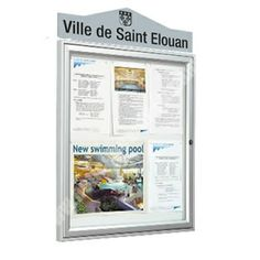 Wall mounted external notice board 30mm deep silver aluminium profile Zinc electroplated steel backboard Ideal magnets Side hinged door with 4mm plexishock glazing Key lock with 2 key supplied Price includes header panel with text. Please see notes below Also available post mounted