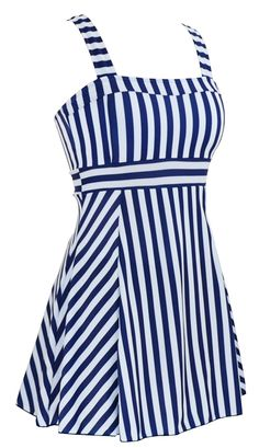 daad671e88 1940s Bathing Suits History DANIFY Womens One Piece Sailor Vintage Swimsuit  Tankini Plus Size Cover Up