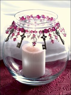 Keys to My Heart Candle Jar Add a romantic glow to any room in your home with this pretty candle jar embellished with a stretchy bracelet. Mason Jar Crafts, Bottle Crafts, Mason Jars, Diy Candles, Candle Jars, Candle Holders, Candle Gifts, Homemade Candles, Scented Candles