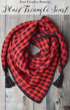 Crochet Plaid Triangle Scarf- free pattern using crochet buffalo plaid