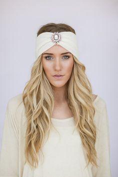 BOHO Headband Ivory Knit WanderLust Bohemian Hair Bands Rhinestone Crystal Medallion Free Spirited Travel Hair Accessories (IVORY)