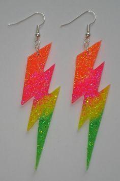 UV glow rainbow glitter lightning flash earrings