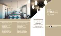 Four Fold Interior Design Brochure Template For Free Design Brochure, Brochure Layout, Brochure Template, Flyer Design, Design Studio Office, Design Desk, Inventions Kids, Rooms Home Decor, Lorem Ipsum