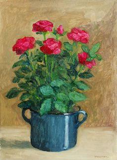 Flower Art, Pots, Flowers, Red, Painting, Art Floral, Florals, Painting Art, Paintings