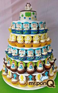 Cup-cakes angelitos. Virgencitas.palomitas primera comunion.mr.ponQ