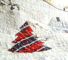 Winter Scene Art Quilt Home Decor Red Blue by BozenaWojtaszek, $200.00