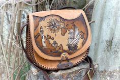 Купить Сумка кожаная женская через плечо Морское путешествие - сумка ручной работы, сумка