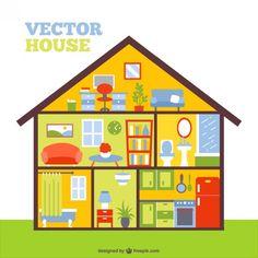 Vector Kleurrijke Huis In Een Cut Gratis Vector
