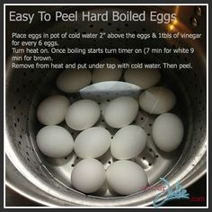 Easy to peel hard-boiled eggs; with chickens we have lots of fresh eggs. Fresh eggs aren't easy to peel! Peeling Boiled Eggs, Peeling Eggs Easy, Easy Peel Boiled Eggs, Cooking Tips, Cooking Recipes, Making Hard Boiled Eggs, Egg Dish, Egg Recipes, Recipies