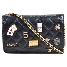 Chanel Black Leather Quilted 'Lucky Charms Reissue' Wallet On Chain   1stdibs.com