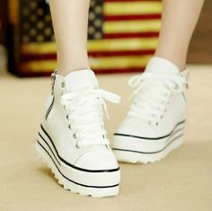 Womens Platform Lace Up Fashion Canvas High Top Sneakers Casual Sports Shoes