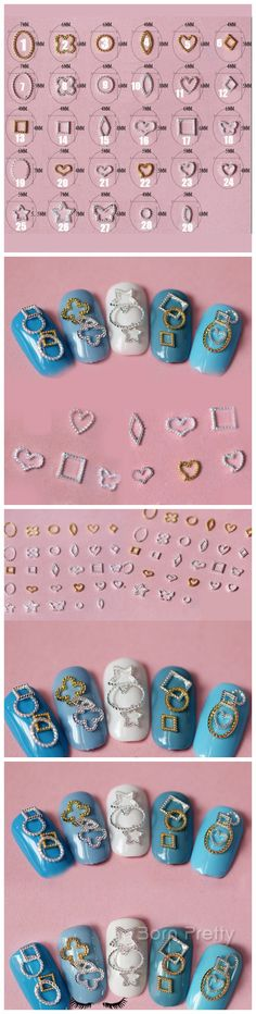 $2.86 10Pcs Hot-Sell Vintage Star Circle Heart Square Design Stud Rhinestone 3D Nail Art Decoration - BornPrettyStore.com