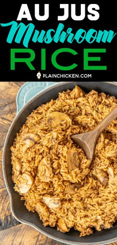 Au Jus Mushroom Rice - seriously delicious! Rice slow cooked in butter, onion, oregano, salt, pepper, beef broth, au jus gravy mix and mushrooms. I could make a meal out of this delicious rice!!! Ready to eat in under 30 minutes! Add some leftover steak, ground beef or pork for a quick main dish. #rice #beef #mushrooms Rice Side Dishes, Potato Dishes, Vegetable Side Dishes, Onion Recipes, Veggie Recipes, Chicken Recipes, Cooking Recipes, Supper Recipes, Side Dish Recipes