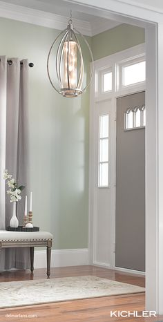 This foyer pendant from Kichler's updated traditional Savanna collection is inspired by classic Williamsburg design, featuring smooth, curved arms in a Sterling Gold finish with Antique Mercury glass accents. Decor, Foyer Pendant, Fan Light, Kichler, Incandescent Bulbs, Canopy Weights, Lights, Inspiration, Pendant Lighting