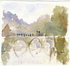 Figures on a Bridge - Kieron Williamson, child prodigy - one of his first paintings Child Prodigy, But Is It Art, English Artists, 9 Year Olds, Old English, Bridge, Amazing, Creative, Inspiring Art