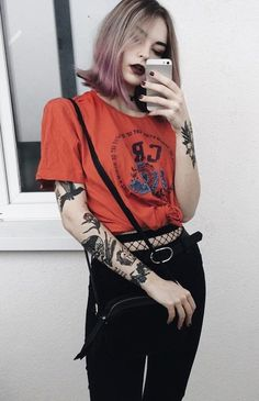 Red graphic printed tee with black purse, pants & fishnet stockings by highleesi #StreetFashionStyle