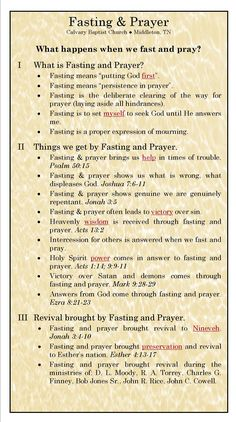 Fasting And Prayer |