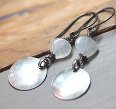 Moonstone Earrings Moonstone and Silver Disk Rustic Jewelry White Moonstone Earrings