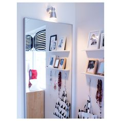 HOVET Mirror IKEA Can be hung horizontally or vertically. Safety film reduces damage if glass is broken. Ikea Home, Window Cleaner, My Room, Floating Shelves, Cleaning Wipes, Bedroom Decor, Flooring, Decoration, Windows
