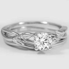 18K White Gold Budding Willow Matched Set // Set with a 0.52 Carat, Round, Ideal Cut, I Color, VS1 Clarity Diamond #BrilliantEarth