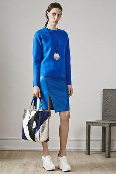 PS15 Look 17 – cobalt Sweatshirt / cobalt Asymmetric Skirt