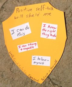 Positive self-talk shield Could also do assertive statements or ways to respond to teasing Self Esteem Activities, Counseling Activities, Art Therapy Activities, Therapy Ideas, Group Counseling, Elementary School Counseling, School Social Work, School Counselor, Elementary Schools