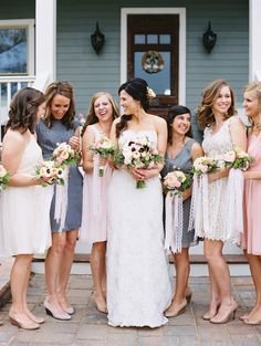 dusty blue + pale pink bridesmaid dresses | Landon Jacob #wedding
