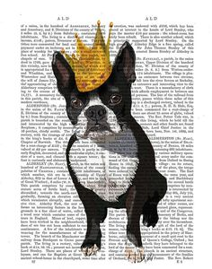 Boston Terrier And Crown Art Print dictionary page book art Dog Art Dog Print wall art wall decor, dog king, pug via Etsy