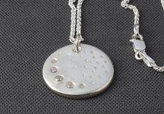 Contemporary silver moon pendant, handmade unique pendant, sparkly space pendant, cosmos necklace, quirky pendant, silver star pendant