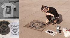 """DieRaubdruckerinbenutztGullideckel und andereOberflächen der Stadt, um damit grafische Abdrücke zu erzeugen. Die BerlinerinEmma-France nutzt die Oberfläche der Stadt alsDruckplatte. Mit Hilfe von Farbe druckt sie dieMuster von Gullideckeln, Gittern und anderen Architekturelementen mit optisch interessanten Oberflächen auf Stoff und Papier. """"Die daraus entstehende, urban inspirierte Kunst ist in gewisser Weise umgekerte Street Art, da dem städtischen Raum etwas entnommen wird und…"""