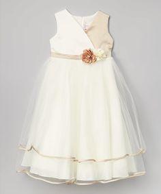 Look at this #zulilyfind! Champagne & Ivory Flower Surplice Dress - Toddler & Girls #zulilyfinds