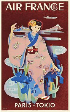 For Sale on - Original Vintage Air France Travel Poster Paris Tokio Tokyo Japan Mount Fuji, Paper by Tabuchi. Vintage Advertising Posters, Retro Poster, Vintage Travel Posters, Vintage Advertisements, Air France, Tokyo City, Tokyo Japan, Retro Airline, Vintage Airline