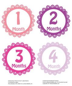 Free - Monthly Baby Girl Stickers (printable) on www.masterfullyme.com