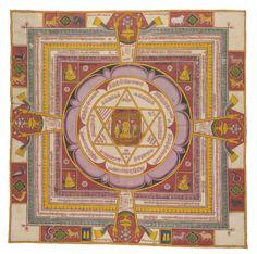 A Jain Cosmic Diagram depicting Vardhamana Mahavira. India, Gujarat or Rajasthan, Century. Southeast Asian Arts, Astrology Books, Indian Aesthetic, Travel Illustration, Hindu Art, Sacred Art, Gods And Goddesses, Indian Art, Traditional Art