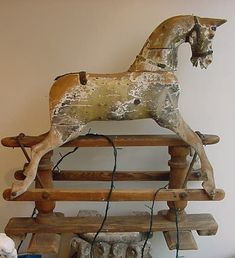 Rocking Horse By Lines Bros~Extra carved Lines Bros rocking horse~ c 1880    33 long x 34 inches high