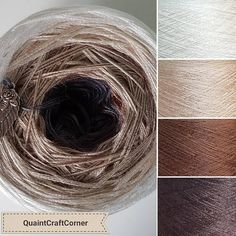 Quaint Craft Corner yarn cake in Smooth Chocolate (reverse) colourway. This is the same as Smooth Chocolate but with ivory on the outside and mocca on the inside. The colours are Mocca, Nutmeg, Beige and Ivory. The quantities of each colour are roughly equal to each other. This is
