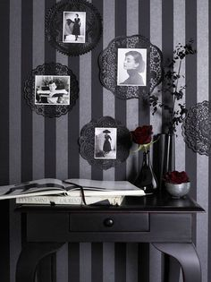 Black paper doilies with photos <3