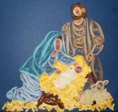 quilling: jesus and mary in the manger? omg... @Holly McClure... does this fit with your collection of religious wtf? oh shnikes...