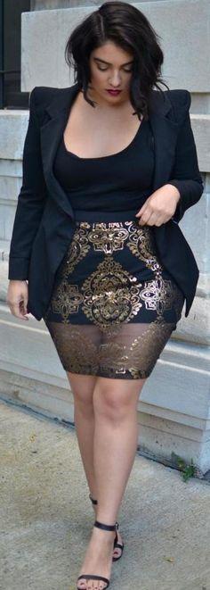 falda estampada negro & dorado - top & blazer negro (talla grande)