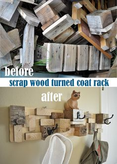 Scrap wood. Paint different colors, maybe cover some in fabric or lace, and hang…