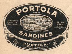 Older vintage Portola illustration showing a  wrapped sardine tin