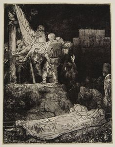 Rembrandt Harmensz van Rijn -  Descent from the Cross, by Torchlight, 1654,  Etching plate: 21.1 x 16.3 cm  | Harvard Art Museums