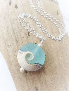 Beach Ocean Necklace Wave Necklace Lampwork Sea Glass Jewelry by JBMDesigns on Etsy