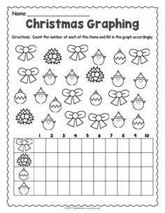 Students must count and graph how many examples of each holiday object appear in this engaging Christmas graphing worksheet; Free Printable Christmas Worksheets, Christmas Worksheets Kindergarten, Preschool Christmas, Preschool Math, In Kindergarten, Christmas Activities, Integers Worksheet, Graphing Worksheets, Preschool Worksheets