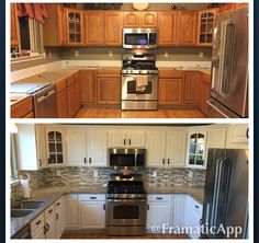 Paint is White Dove from Benjamin Moore. Hardware is from Menards. Backsplash, granite, sink, and faucet all from Lowes.